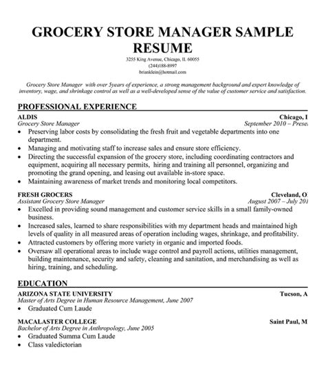 Resume Sles Grocery Store Manager Resume Grocery Store Objective