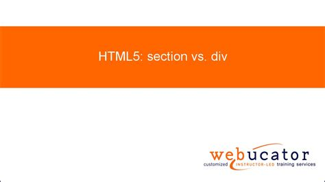 difference between div and section html5 section vs div youtube