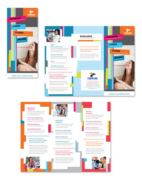 college brochure templates college tri fold brochure template