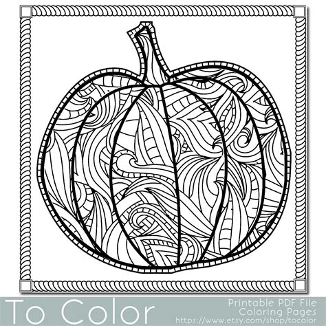 pumpkin coloring pages for adults patterned pumpkin coloring page for adults instant by tocolor