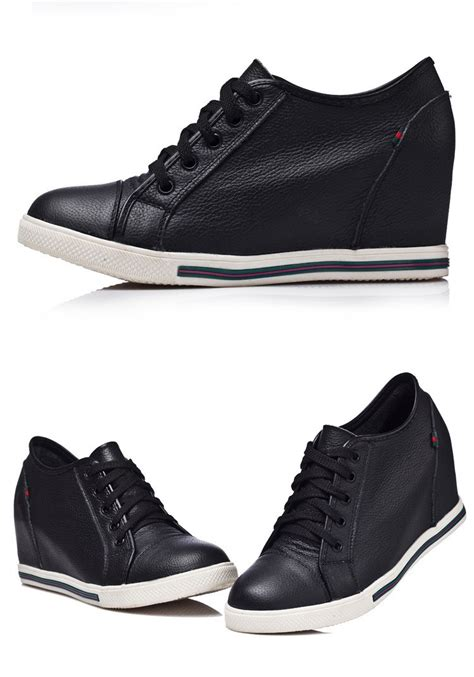 Genuine Leather Lace Up Sneakers new 2015 genuine leather wedges shoes fashion lace
