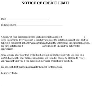 Notification Credit Letter Sle Letter Notice Of Credit Limit Small Business Free