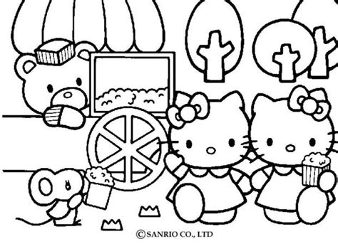 coloring pictures of hello kitty and her friends hello kitty eating popcorns with friends coloring pages
