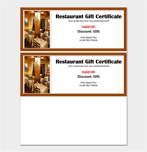 44 Free Printable Gift Certificate Templates For Word Pdf Restaurant Gift Certificate Template