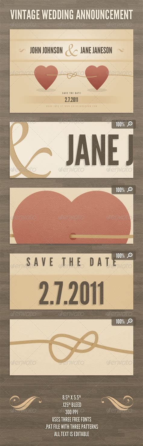 Wedding Announcement Vintage by Vintage Wedding Announcement Template Graphicriver