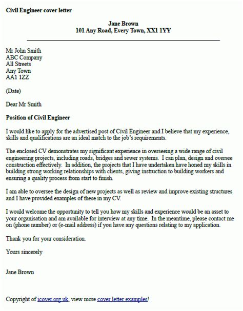 civil engineer cover letter  icoverorguk
