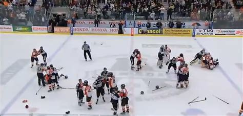 hockey bench clearing brawl massive bench clearing brawl in qmjhl playoff game