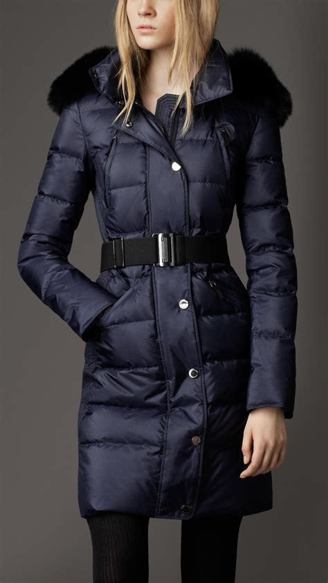 Quilted Fur Coat burberry fur trim quilted coat in blue navy lyst