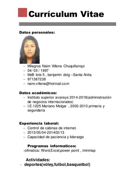 Modelo De Curriculum Vitae Basico De Un Estudiante Curriculum Vitae Basico