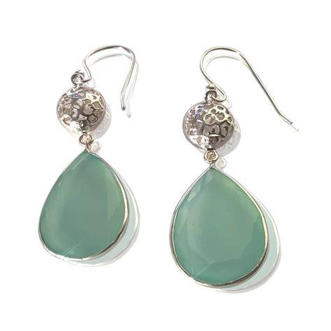 aqua gemstone silver statement earrings by amara
