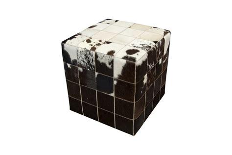 Cowhide Cube Cowhide Cube Pouf Ottoman White Black Brown Fur Home