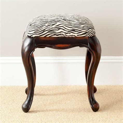zebra vanity bench safavieh rebecca zebra cotton vanity stool amh4030a the