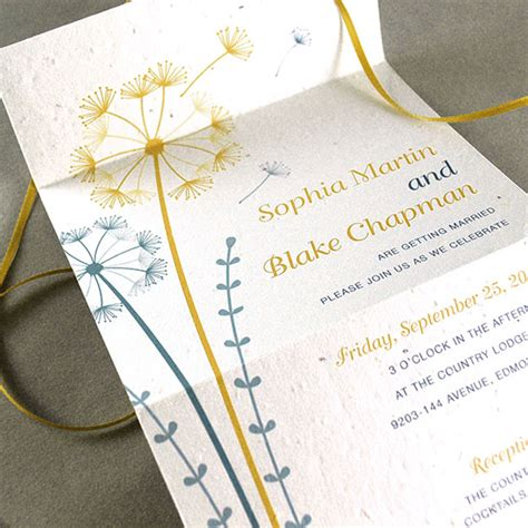 seal and send wedding invitations with photo dandelion seal and send invitation seal and send wedding invitations catalog botanical