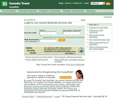 tb bank log in td bank personal banking small business banking