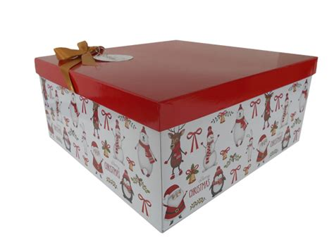 gift box with lid bow and tissue large christmas