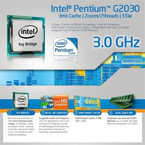 Intel Prosesor Dualcore G2030 Box processor intel pentium g2030 3 0ghz bridge