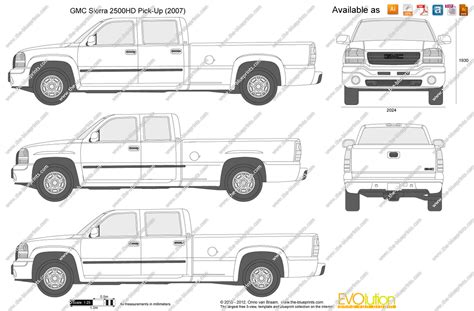 gmc sierra truck bed dimensions the blueprints com vector drawing gmc sierra 2500hd