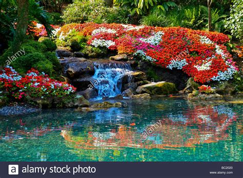florida flower garden a beautiful flower garden with a waterfall in tropical