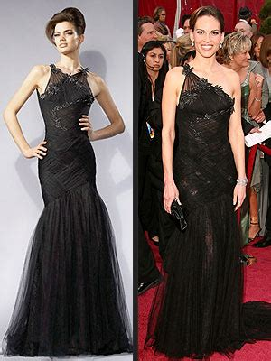 Catwalk To Carpet Hilary Swank In Lhuillier by Runway To Carpet Oscar Fashions Hilary Swank