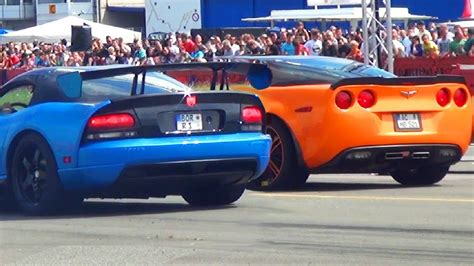 dodge viper srt  corvette  zr drag race  mile