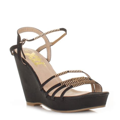 womens xti black strappy peep toe mid wedge heel sandals