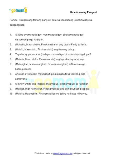 printable worksheets on pang uri pang uri kaantasan 5 worksheets