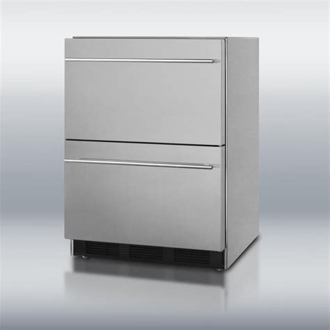 summit 174 24 quot two drawer stainless steel refrigerator the