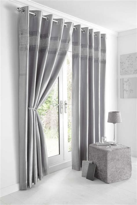 Silver Curtains New Diamante Faux Silk Lined Curtains Black Silver Or