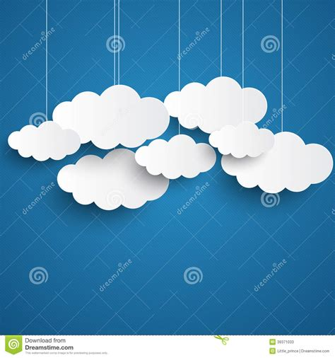 free clouds template for card white clouds on blue sky background stock vector image