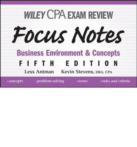 wiley cpaexcel review 2018 study guide business environment and concepts wiley cpa review business environment concepts books wiley cpa examination review focus notes less antman