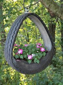 Tire Planters Garden by Hanging Planter Made From Tire Tires
