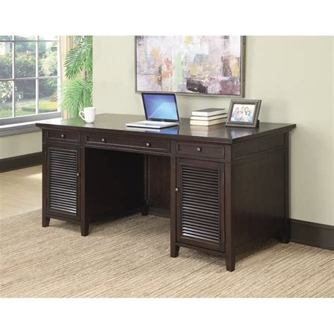 coaster computer desk with power outlet in brown 801097