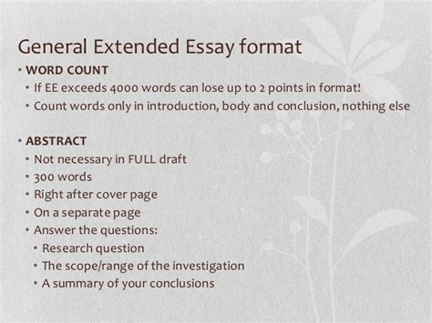 thesis abstract word count senior 7 extended essay workshop