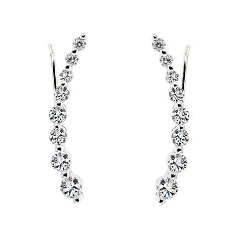 ear climber earrings esqdt003a 925 sterling silver cz ear climber earrings