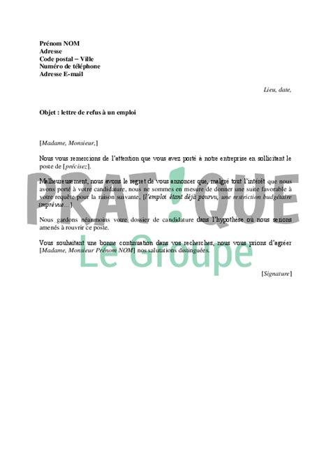 Lettre Refus Vendeur Lettre De Refus D Une Candidature 224 Un Emploi Mod 232 Le 2 Pratique Fr