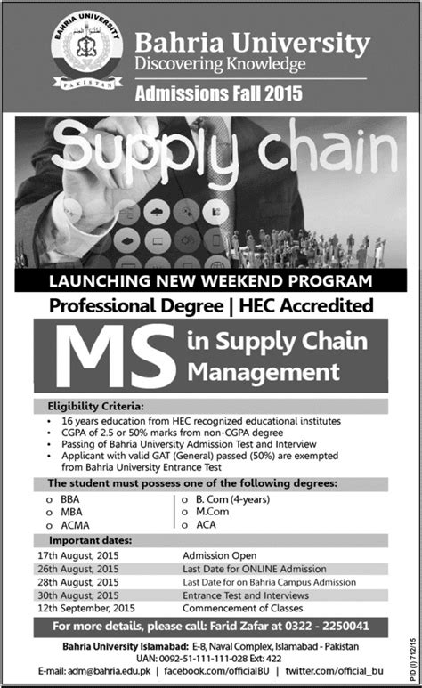Mba In Supply Chain Management In Islamabad by Bahria Islamabad Admission In Ms Supply Chain