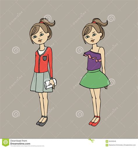 cute teen in two fashion body template