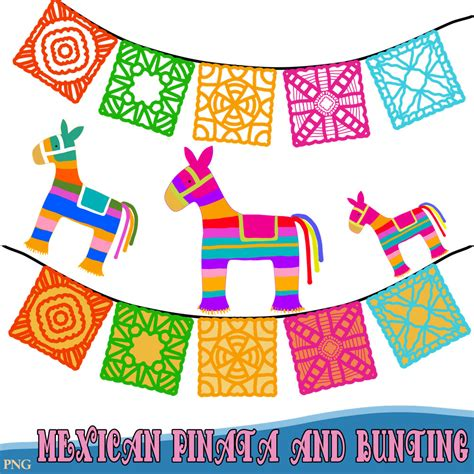 clipart festa mexican pinatas and bunting clipart by