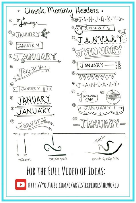 design heading font classic designs for monthly headers in bullet journal