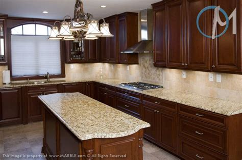 cabinets with new venetian gold granite and tumbled marble backsplash kitchen cabinet