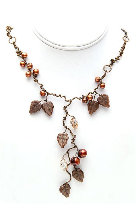 Leaf Pendant Decorated Digital Brown brown statement crystals and pearls necklace nature inspired jewelry necklace