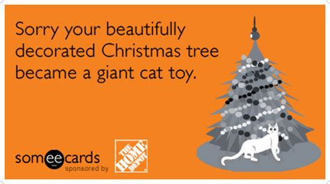 cat toy christmas tree holidays home depot funny ecard