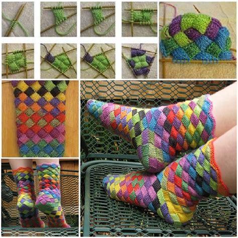 diy woolen socks rainbow patch knitted socks idea diy alldaychic