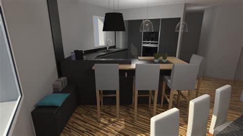 cuisine anthracite et bois cuisine moderne gris anthracite mat et bois massif