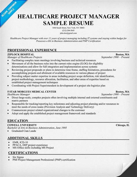 Hospital Resume Healthcare Project Manager Resume Exle Http Resumecompanion Health Resume