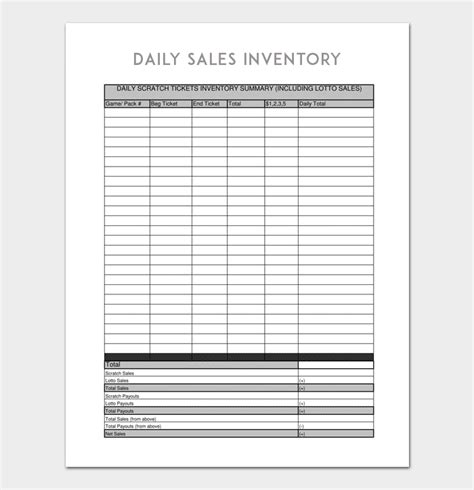 Daily Inventory Template 6 For Word Excel Daily Inventory Sheet Template