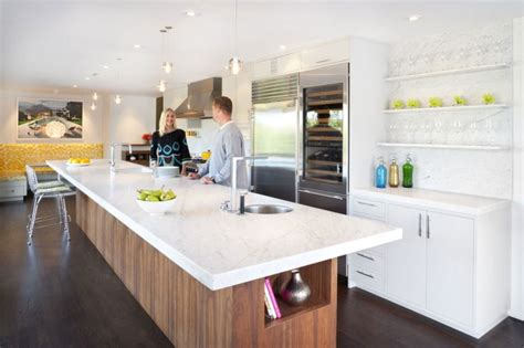 Long Island Kitchen by Spacious Kitchen In White With Sleeks Shelves Long Kitchen