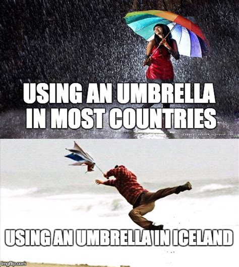 using an using an umbrella in iceland imgflip