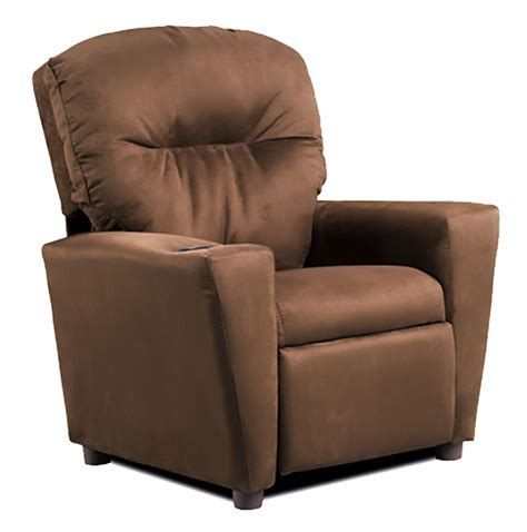 suede recliner chocolate quot suede quot kid s recliner from kidz world 1300 1