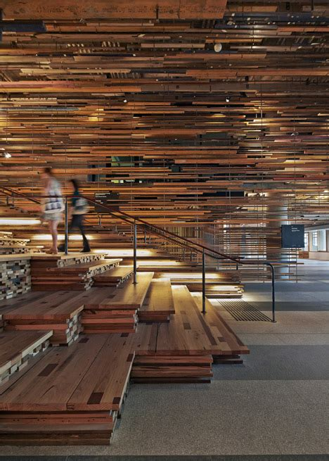 woodworking canberra march studio adds thousands of timber planks to staircase